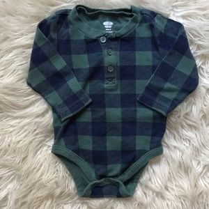 Old Navy blue green plaid button onesie long sleev